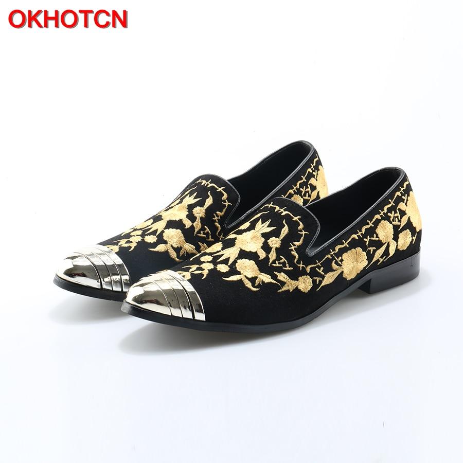 Designer Chaussures Marée Paresseux Mocassins Or Floral 1 Métal Pointu As Fumeur Mode Homme Slip 2 Sur as Pic Chaude Bout Appartements Occasionnels Pantoufles Okhotcn wnqUtCvY