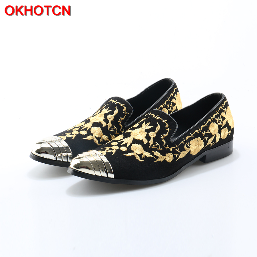 OKHOTCN Hot Fashion Man Shoes Slip On Lazy Loafers Gold Floral Designer Man Smoking Slippers Metal Pointed Toe Casual Flats Tide 2017 shoes man casual punk rivets flats shallow loafers designer man slip on smoking slippers plus size cozy flats male shoes