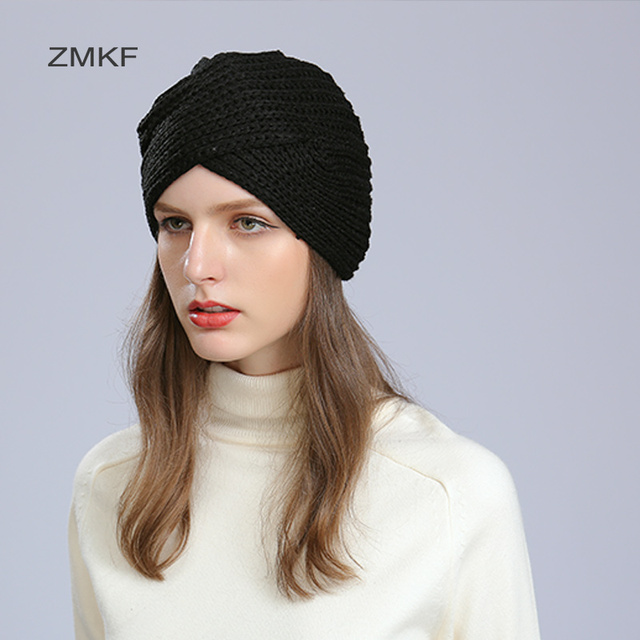 2017 ZMKF New Fashion Women Turban Hat Bohemia Color Fold Beanies Female  Simple Autumn Bonnet Indian Turban Women hats. 1 order 2f7f0ec080a