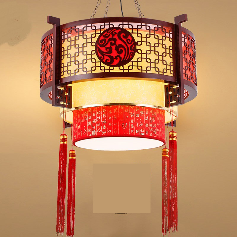 Retro Chinese solid wood pendant light festival light dining room living room and lanterns of Hotel Club pendant lamp ZA1128726