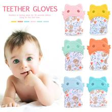 Baby Teether Molar Gloves Children Soothing Silicone Gloves Cartoon Kitten Toy Kid Hygienic Teething Rubber Gloves
