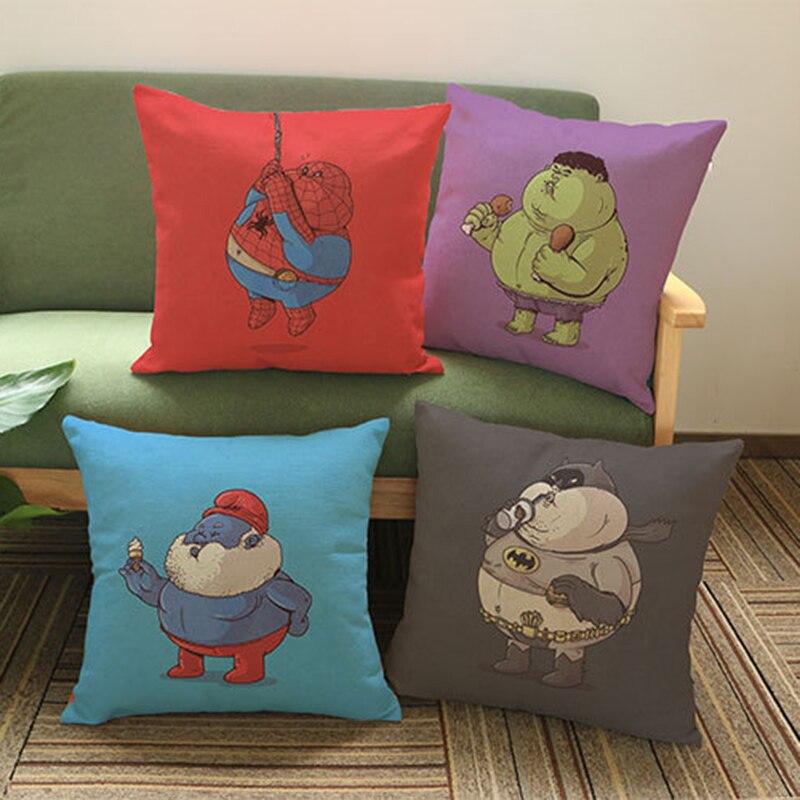 Super Hero Fat Man Cartoon Character Pillow Case Captain America Batman Iron Man Wonder Woman Hulk Fat Version Cushion Cover