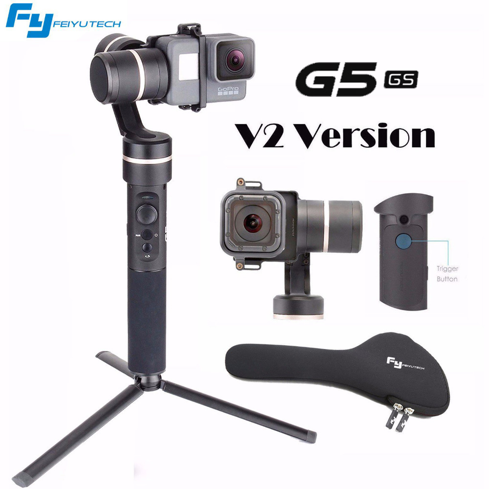 Feiyu G5 V2 Updated 3 Axis Splash Proof Handheld Gimbal for GoPro Hero 6 /5 /4 /3 /Session H9R SJ4000 with EACHSHOT Mini Tripod