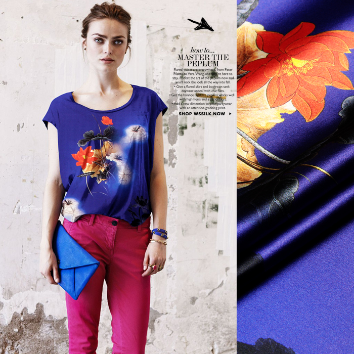 118cm wide 93 silk 7 spandex 19mm orange lotus blue silk satin fabric for dress evening