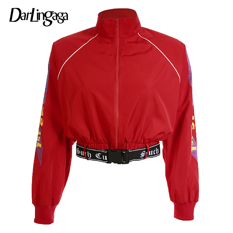 Darlingaga Autumn high neck bomber   jacket   coat with belt zipper letter print   basic     jackets   for women street cool 2018 outerwear
