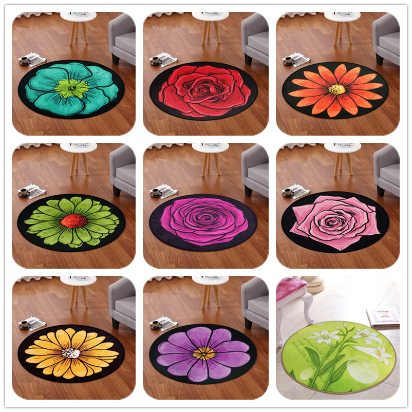 Cartoon Series Round Rug Household Decor Carpets Kids Room Computer Chair Floor Mat baby Child Game Crawl large Area Soft Carpet