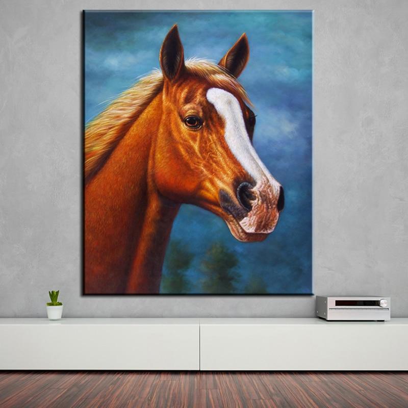 ⑧Pintura al óleo barata en sala de arte abstracto caballo árabe ...
