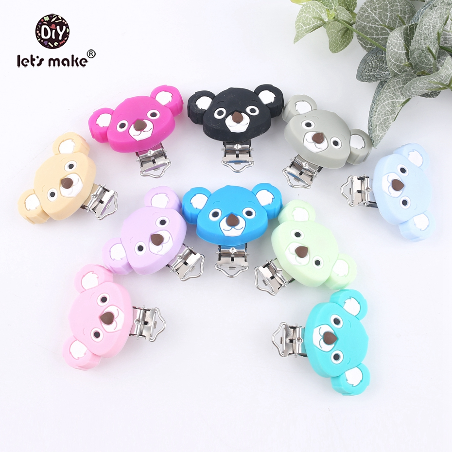Let's Make Whalesale 50PCS  Silicone Koala Clips Teethers DIY Nursing Soother Clips Chains Accessories Making Baby Teethers