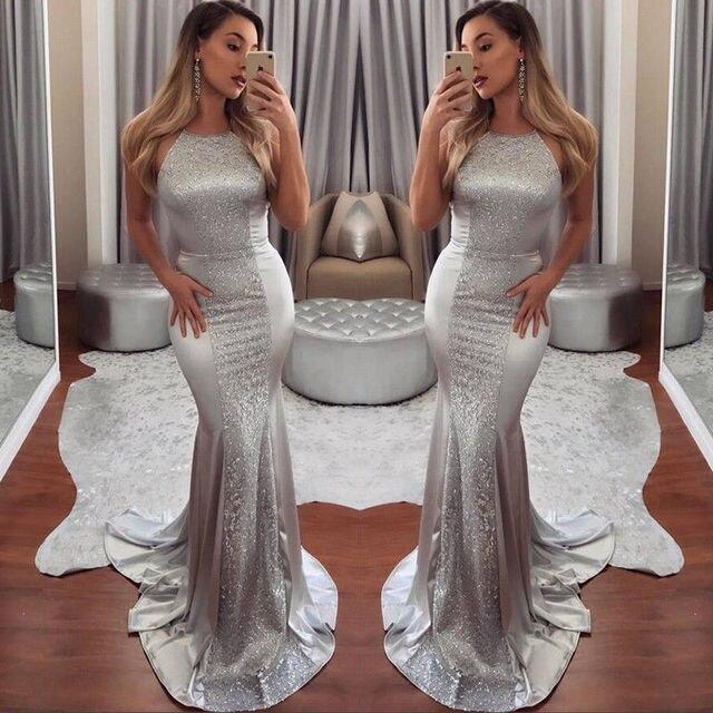 0b30f82225 Long Party Dresses 2018 Women Sliver Dress Elegant Bridesmaid Floor Length  Maxi Dress Ball Prom Formal Dresses