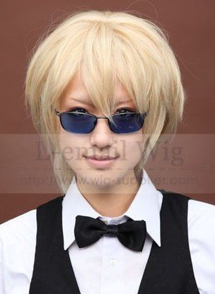 DuRaRaRa!! DRRR!!.Shizuo Heiwajima,047 Light blonde short straight anti alice Cosplay Wig,synthetic costume hair.free shipping