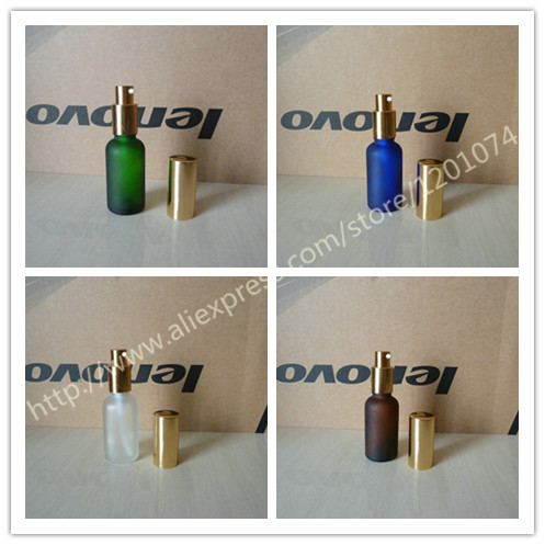 30ml blue clear green brown frosted Glass lotion Bottle With aluminum shiny gold pump for lotion