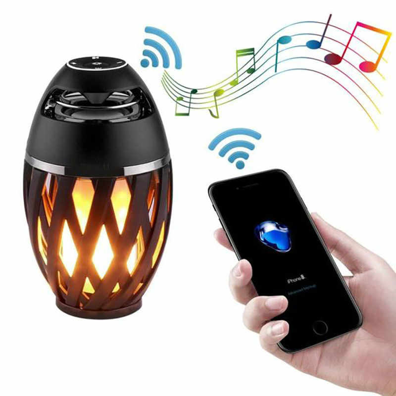 USB Led Flame Lights Bluetooth Speaker Outdoor Portable Led Flame Atmosphere Lamp Stereo Speaker Outdoor Camping Woofer
