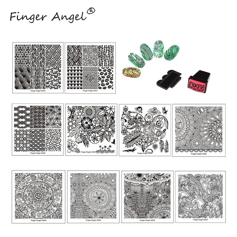 dedo angel 10 pcs placa da arte do prego quadrado geleia stamper scraper nail art stamping