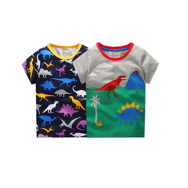 jumping meters Tees sets baby boys children cotton clothing printed animals summer new 2 pcs set sale t shirts kids boys