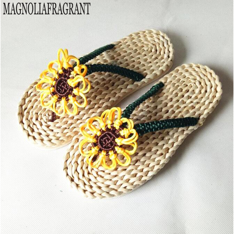 Trade boutique corn bran sandals and slippers casual sandals massage shoes sunflower handmade sunflower sandals shoes h272