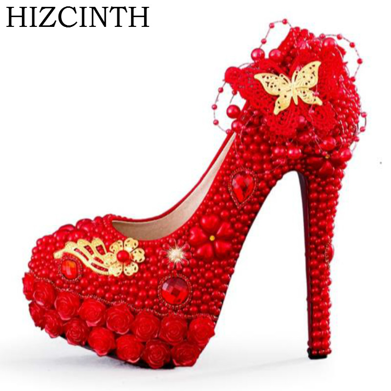 HIZCINTH 2018 Spring Wedding Shoes Gold Butterfly Red Pearl Bride Shoes Woman Chinese Style Thin Heels Rhinestone Zapatos Mujer 00009 red gold bride wedding hair tiaras ancient chinese empress hair piece