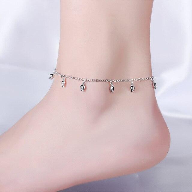 796f5f1366f Women Ankle Chain Bracelet Fashion Jewelry Genuine 925 Sterling Silver Anklet  Plain Silver Stylish Ankle Bracelet Girls Gift