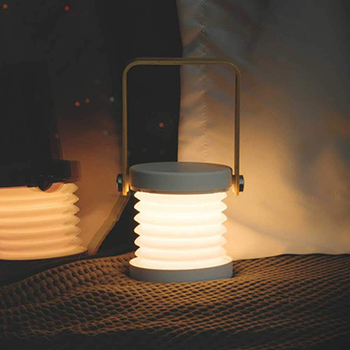 USB Rechargeable Portable Handle 3D Table Lamp Collapsible LED Camping Lantern Wooden Night Light with 3 Adjustable Brightness