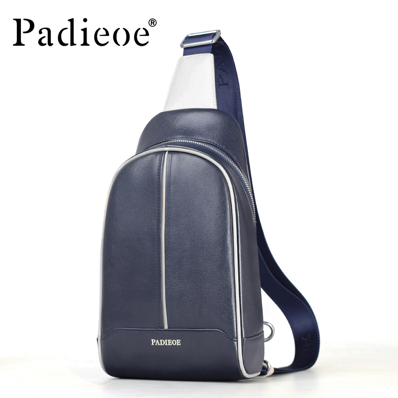 Padieoe Fashion Genuine Leather Bag Men Chest Pack Casual Crossbody Male Shoulder Messenger Bags goog yu retro leather men s chest pack fashion casual messenger bag high grade genuine leather bag cowhide shoulder bags