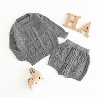 Baby Clothing Set Knitted Girls Clothes Toddler Boys Clothes Single Breasted Sweater and Shorts Baby Set Kids Boutique Clothes