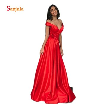 Sweetheart Off Shoulder Prom Dresses Red Satin A-Line Formal Evening Gowns Bow Waist Charming Prom Gowns Leg Slit GradautionD997