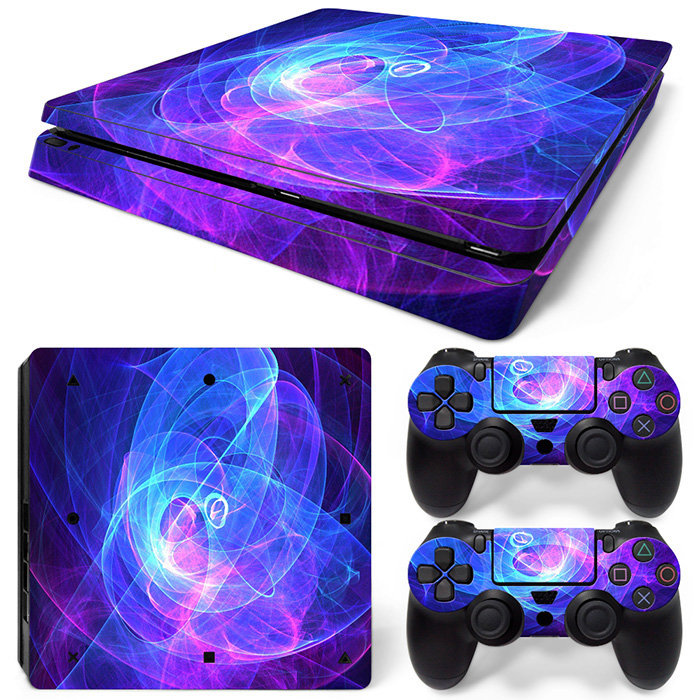 Blue Fire PS4 Slim Protective Decal Cover For Sony Playstation 4 Slim Console Skin And Controllers Sticker Game Accessory