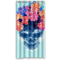Stylish Living Elegant Abstract Blue Skull with Floral Art Bath Shower Curtain Hook Attached 36w*72h inch