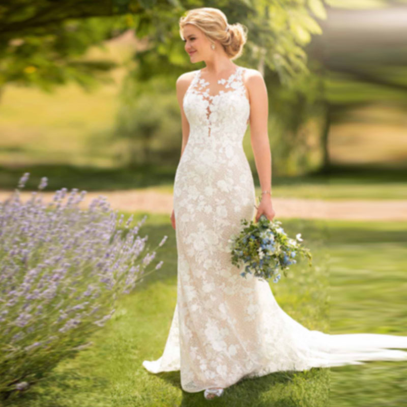 Eightale Boho Wedding Dresses Lace Appliques Illusion Neckline Mermaid Princess Wedding Gowns Vintage Bride Dress 2019