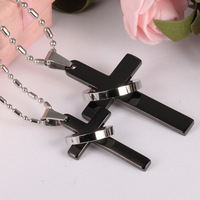 Fashion Unisex S Men Stainless Steel Cross Pendant Necklace Chain Silver Plated Back Necklaces For Women