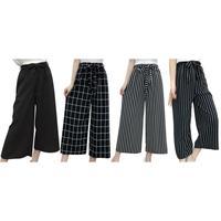 Летние Новые Полосатые стильные черные свободные укороченные повседневные брюки с высокой талией женские шифоновые широкие брюки большог...