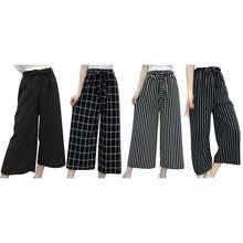 ac1e64f4e51 Summer New Striped Style Black Loose High Waist Crop Casual Pants Women One  Size Chiffon Wide-leg Pants Plus Size