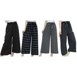 Летние Новые Полосатые стильные черные свободные с высокой талией укороченные повседневные брюки женские один размер шифоновые широкие