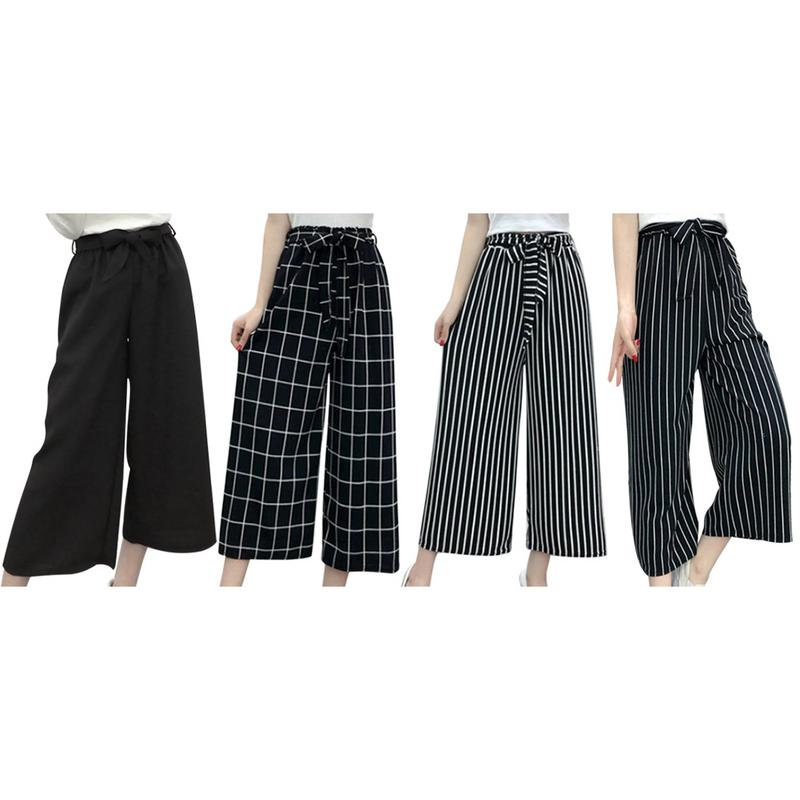 Summer New Striped Style Black Loose High Waist Crop Casual   Pants   Women One Size Chiffon   Wide  -  leg     Pants   Plus Size
