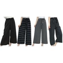 Summer New Striped Style Black Loose High Waist Crop Casual Pants Women One Size