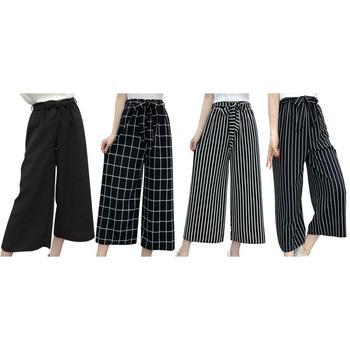 Yaz Yeni Çizgili Tarzı Siyah Gevşek Yüksek Bel Kırpma Rahat Pantolon Kadın Bir Boyut Şifon Geniş bacak Pantolon Artı boyutu