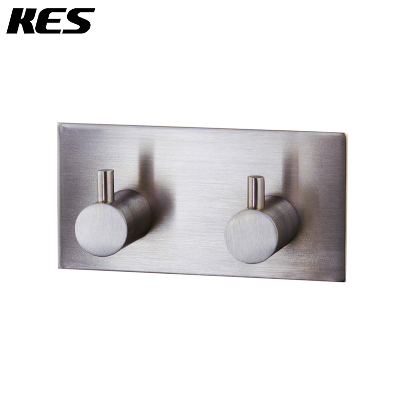 KES A7060H2 Bathroom Lavatory Self Adhesive Double Coat and Robe Hook, Brushed Stainless Steel