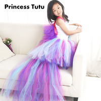 Colorful New Arrival Girl Lovely Unicorn Cosplay Ribbon Tutu Dress Knee Length Child Little Horse Cos