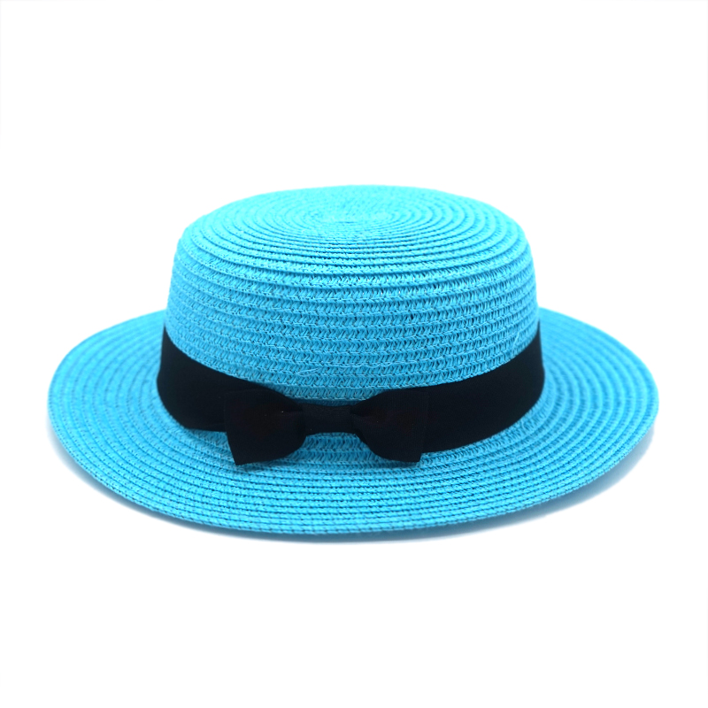 2019 simple Summer Female Casual Panama Parent child Hat Beach Hat Lady Women Flat brim Bowknot Straw cap glris Sun Hat in Men 39 s Sun Hats from Apparel Accessories
