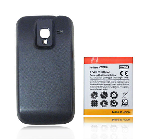 Free Shipping Phone Replacement Extended Backup 3500mAh Battery Black with Back Cover For Samsung Galaxy Ace 2 GT-i8160 i8610