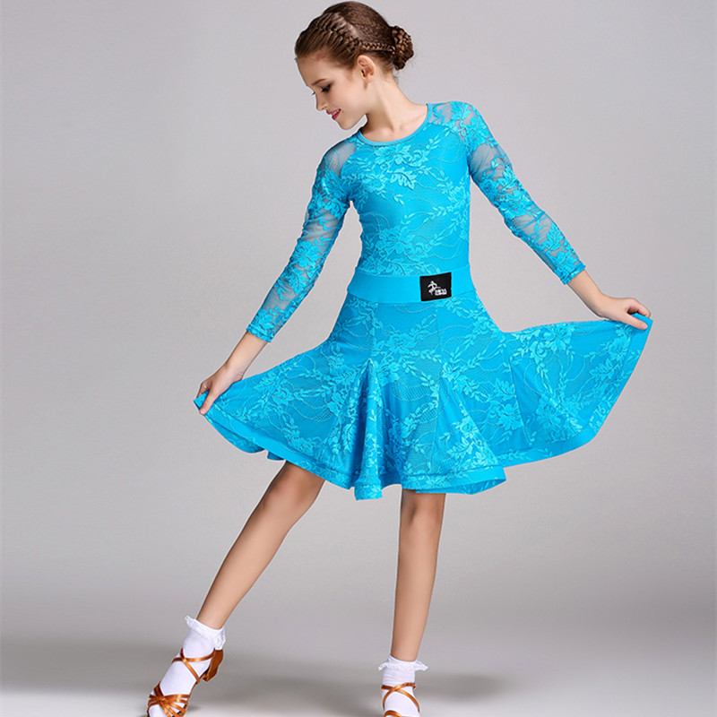 Picture of 6 Colors Blue Latin Dress For Girls Dance Costume Kids Salsa Dresses Latino Dance Dress Kids Girls Children Latin Dance Dress