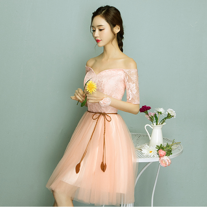 New Arrivals 2017 Bright Peach Color Tulle Modest