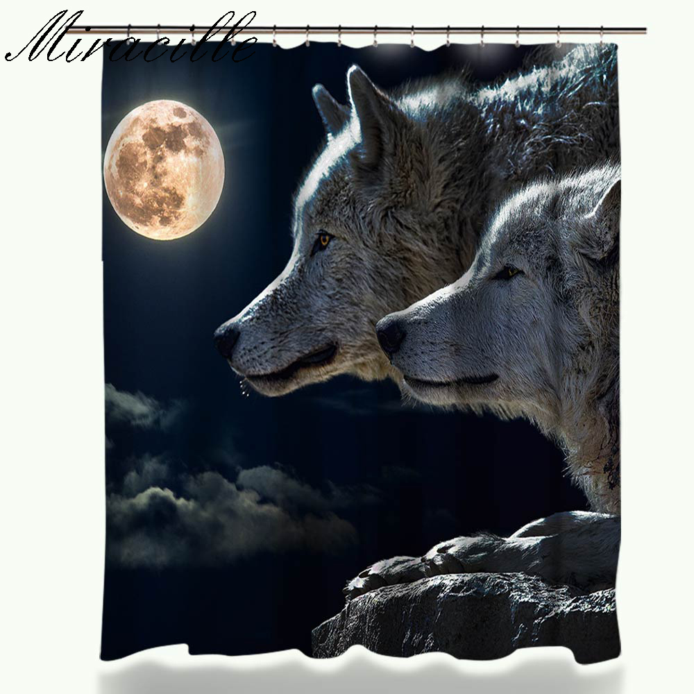 Miracille Shower Curtain Animal Printed Bathroom Decor Curtains Wolf Designs Polyester Fabric Shower Curtains With 12