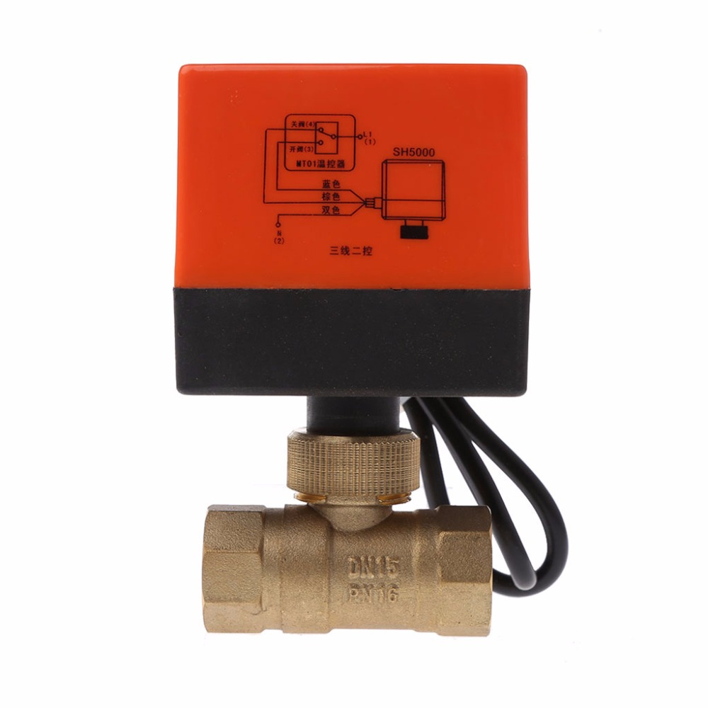 DN15/DN20/DN25 Electric Motorized Brass Ball Valve DN20 AC 220V 2 Way 3-Wire with Actuator image