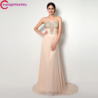 Prom Dresses New High Quality Elegant Floor Length Sweetheart Sweep Brush Party Gowns Hand Made Crystal
