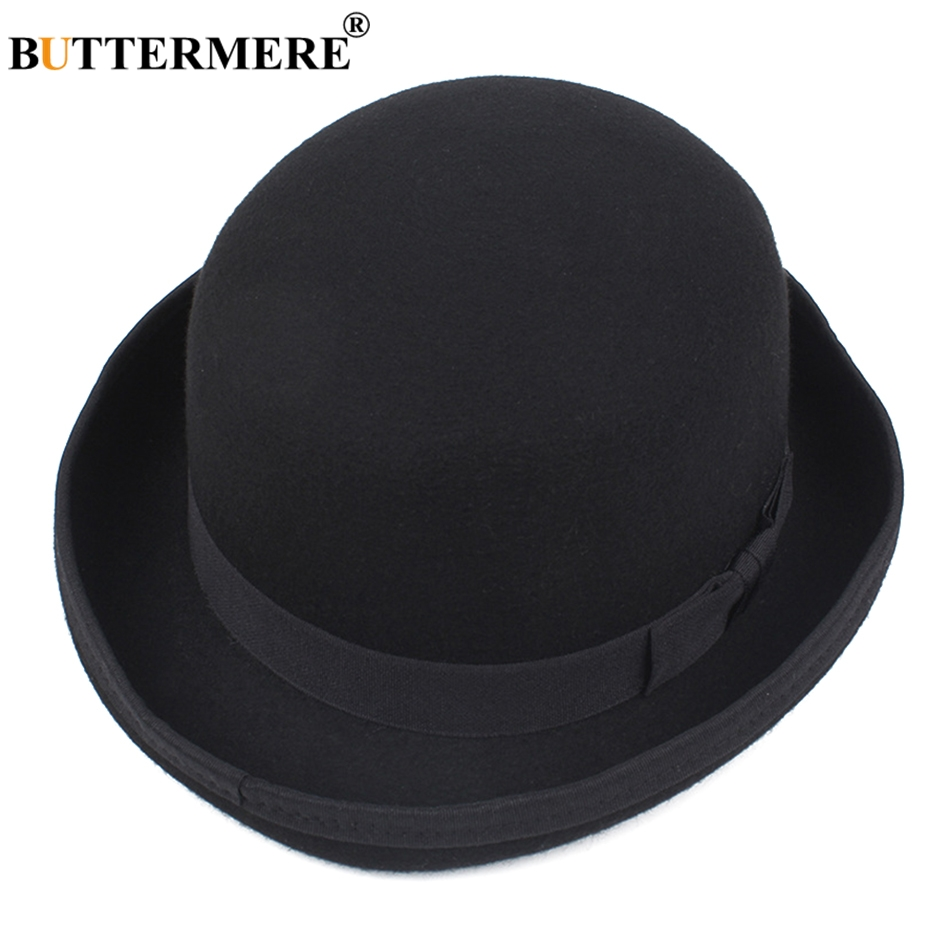 Detail Feedback Questions about BUTTERMERE Wool Fedora Mens Black Hat Bowler  Retro Jazz Cap Male Vintage Felt Hats Curled Brim Autumn Winter Fedoras Caps  ... 9ed125a3ae62