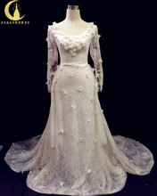 Rhine Real Sample Long Sleeves Lace With Hand Flowers Court New Arrival Bridal Wedding Dresses Wedding Gown