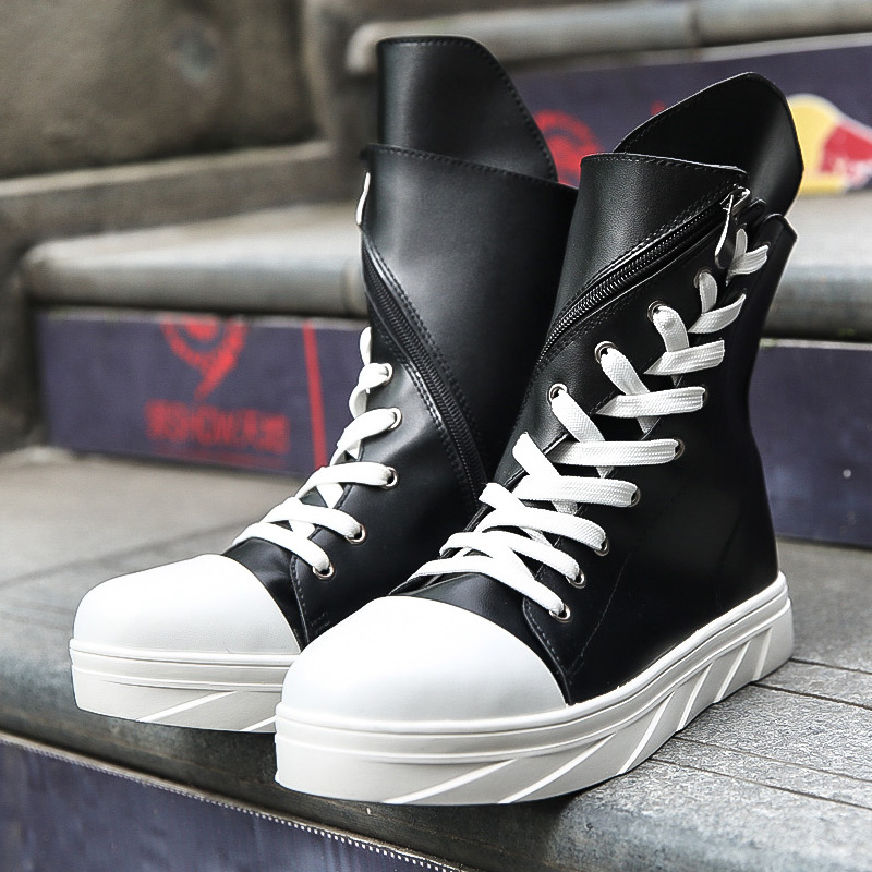 Street Style Personality Thick Platform Boots Lace Muffin Martin Boots Military Boots Black And White Young Hip Hop