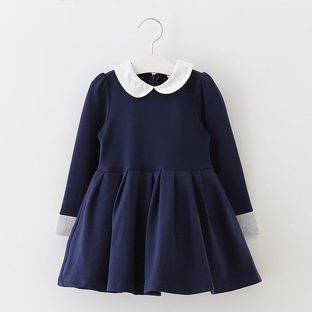 f1bbaa633 3T to 8T children girls blue peter pan collar school uniform flare ...