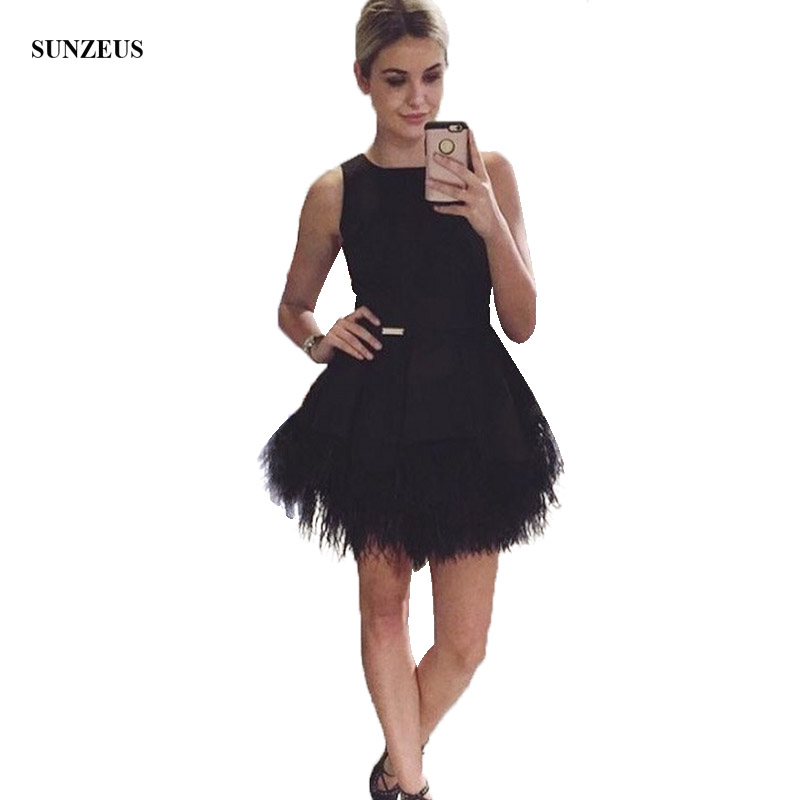 Short Black   Prom     Dresses   Feathers Party Gowns Girls A-line Tank Vestido Curto S900