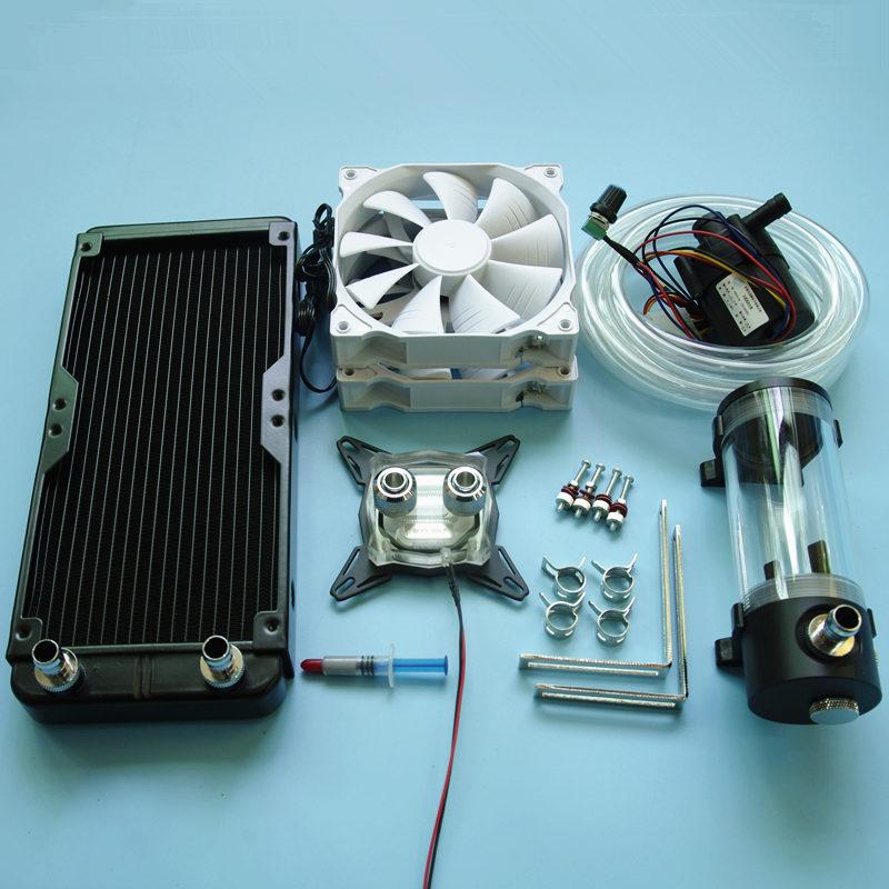 Prix pour Pour Intel LGA 115X1155 1151 ordinateur CPU eau De Refroidissement refroidi tête bloc radiateur réservoir d'eau pompe à eau dissipateur de chaleur Kits